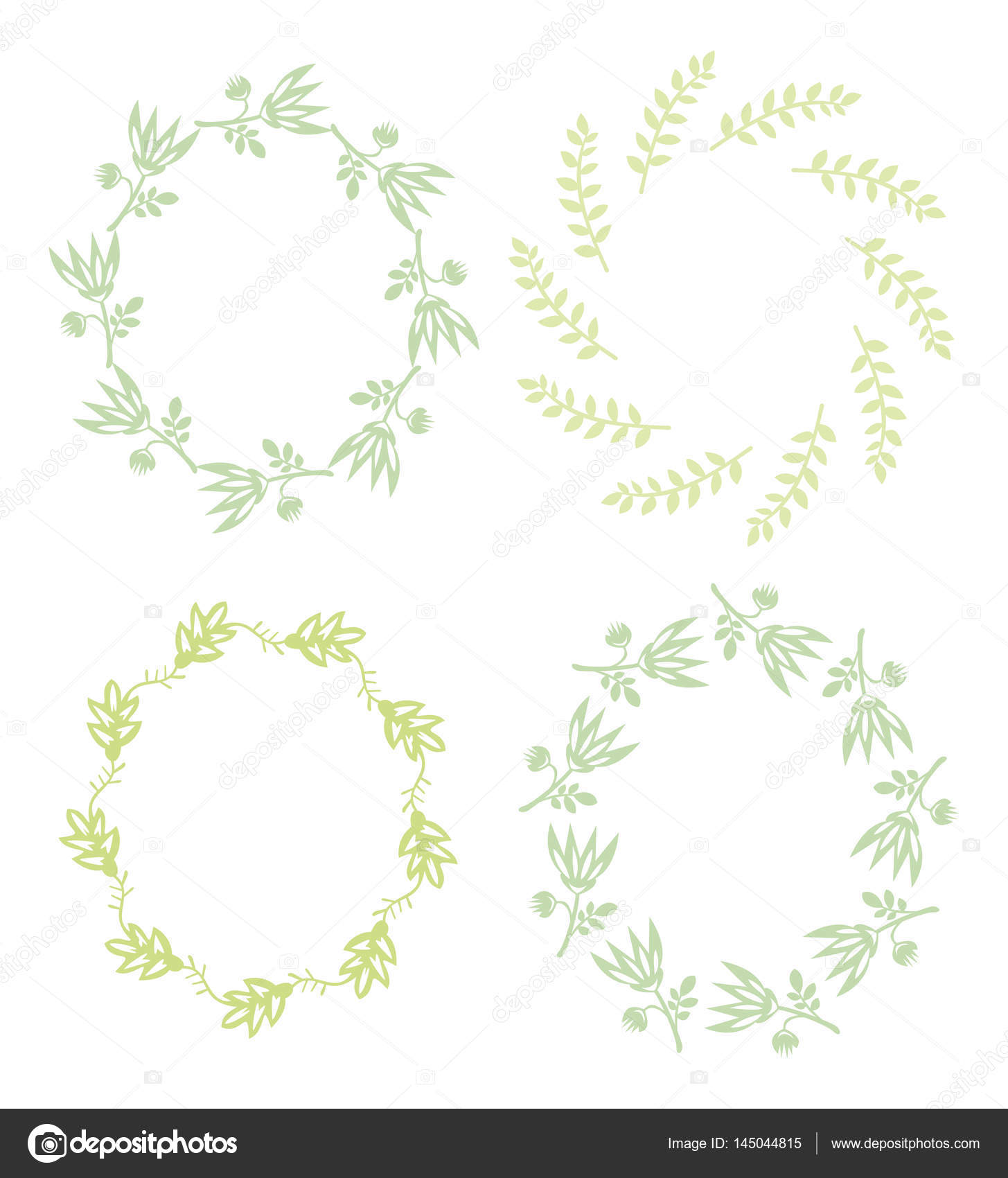 Set round simple frame of plants garland of flowers and leaves stock photo