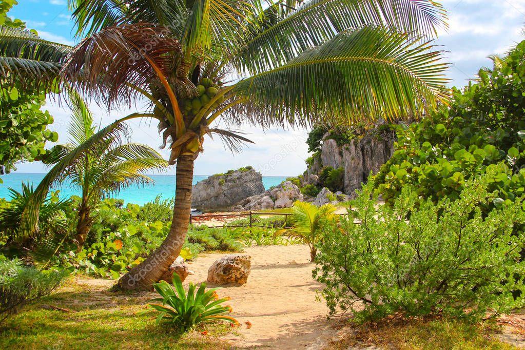 Historic Tulum beach, Caribbean Sea, Mexico