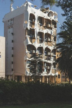 Tel Aviv/Israel-12/10/18: a facade of the residential building at 181 Hayarkon Street, known as the crazy house, facing the Tel Aviv embankment as seen from the Spiegel Park