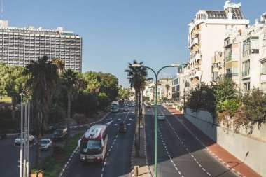 Tel Aviv/Israel-12/10/18: view of HaYarkon Street to the north. HaYarkon Street is a major street which runs roughly parallel with the coastline in Tel Aviv, Israel, carrying traffic north and south