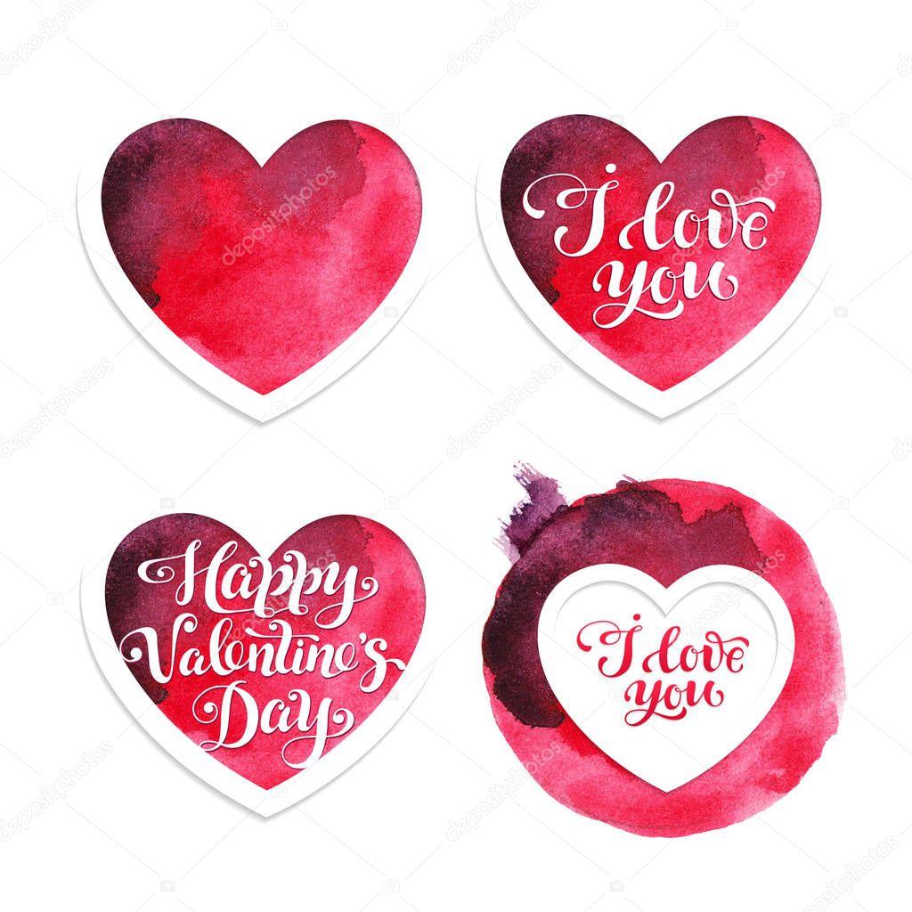 Vier rote Aquarell Valentinskarten mit Herzen zum Valentinstag ...