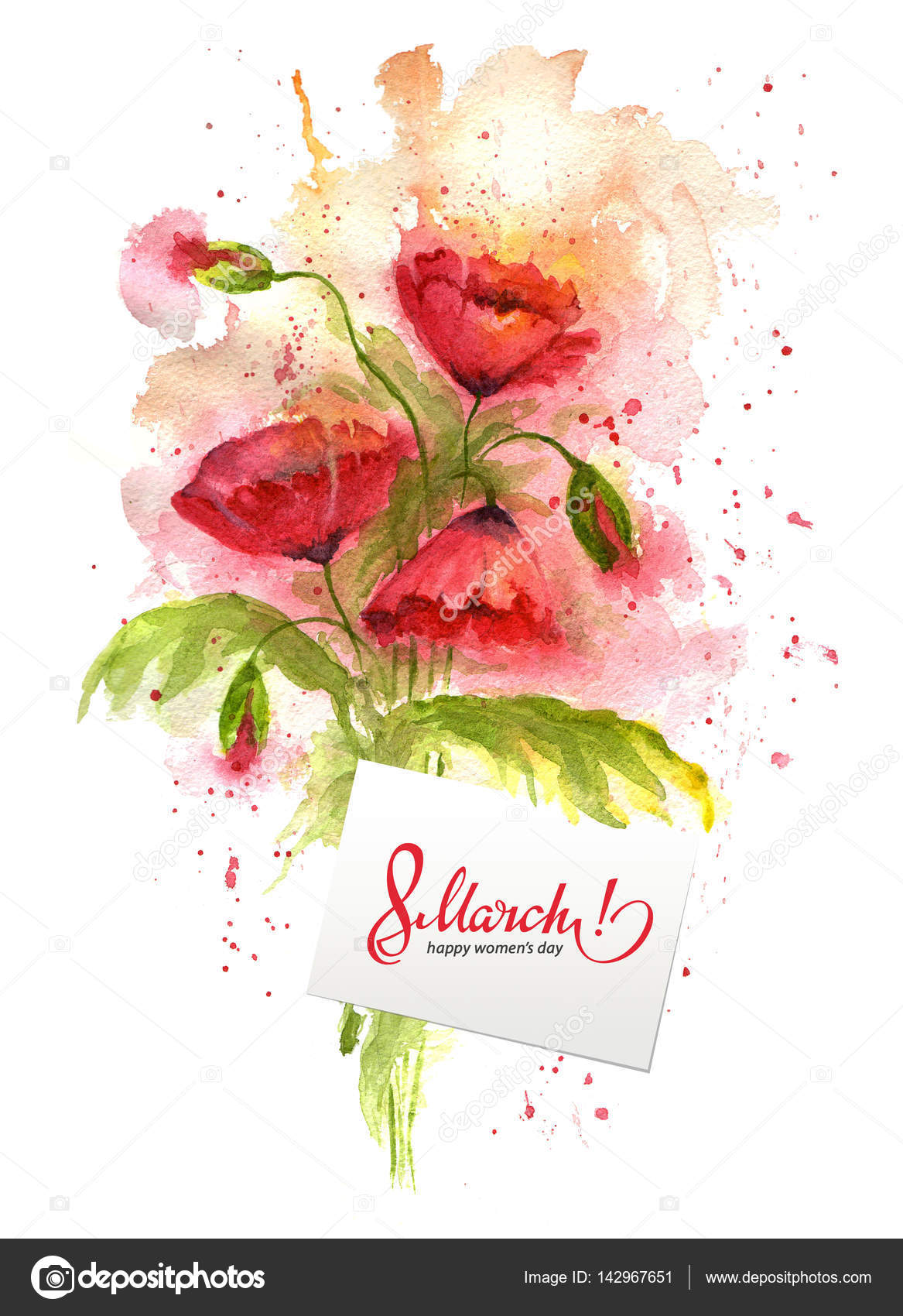 Watercolor greeting card 8 march with red poppy flowers stock watercolor greeting card 8 march with red poppy flowers stock photo kristyandbryce Images