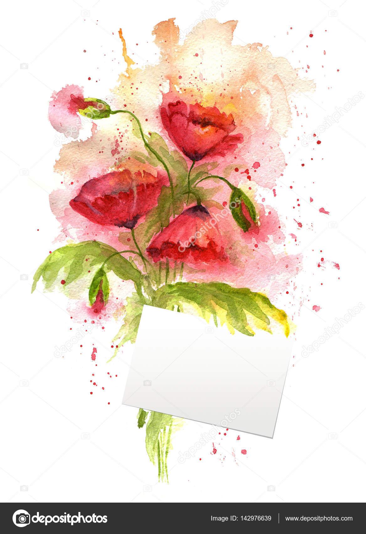 Flores Con Mensajes Ilustracion Acuarela De Flores De Amapola
