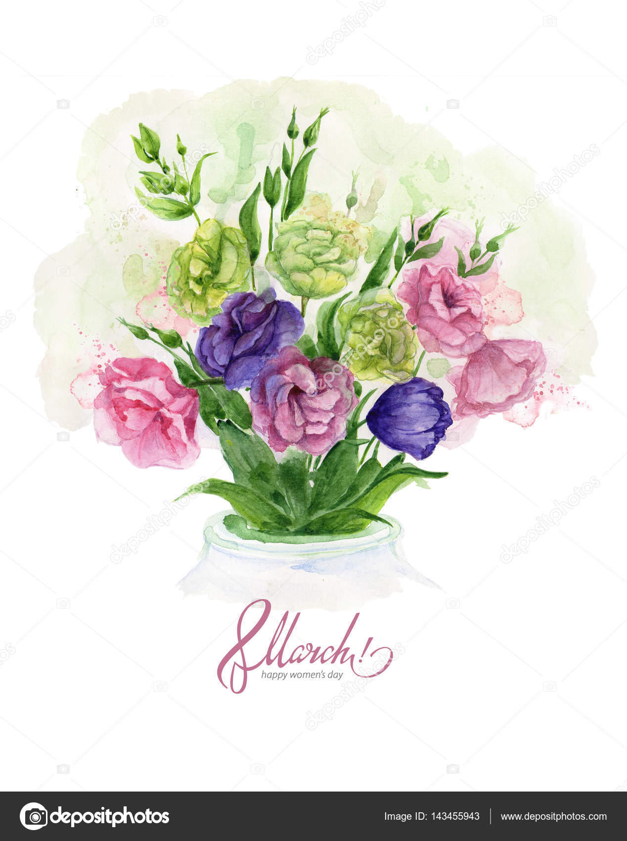 Watercolor greeting card 8 march with delicate spring eustoma watercolor greeting card 8 march with delicate spring eustoma flowers stock photo kristyandbryce Images