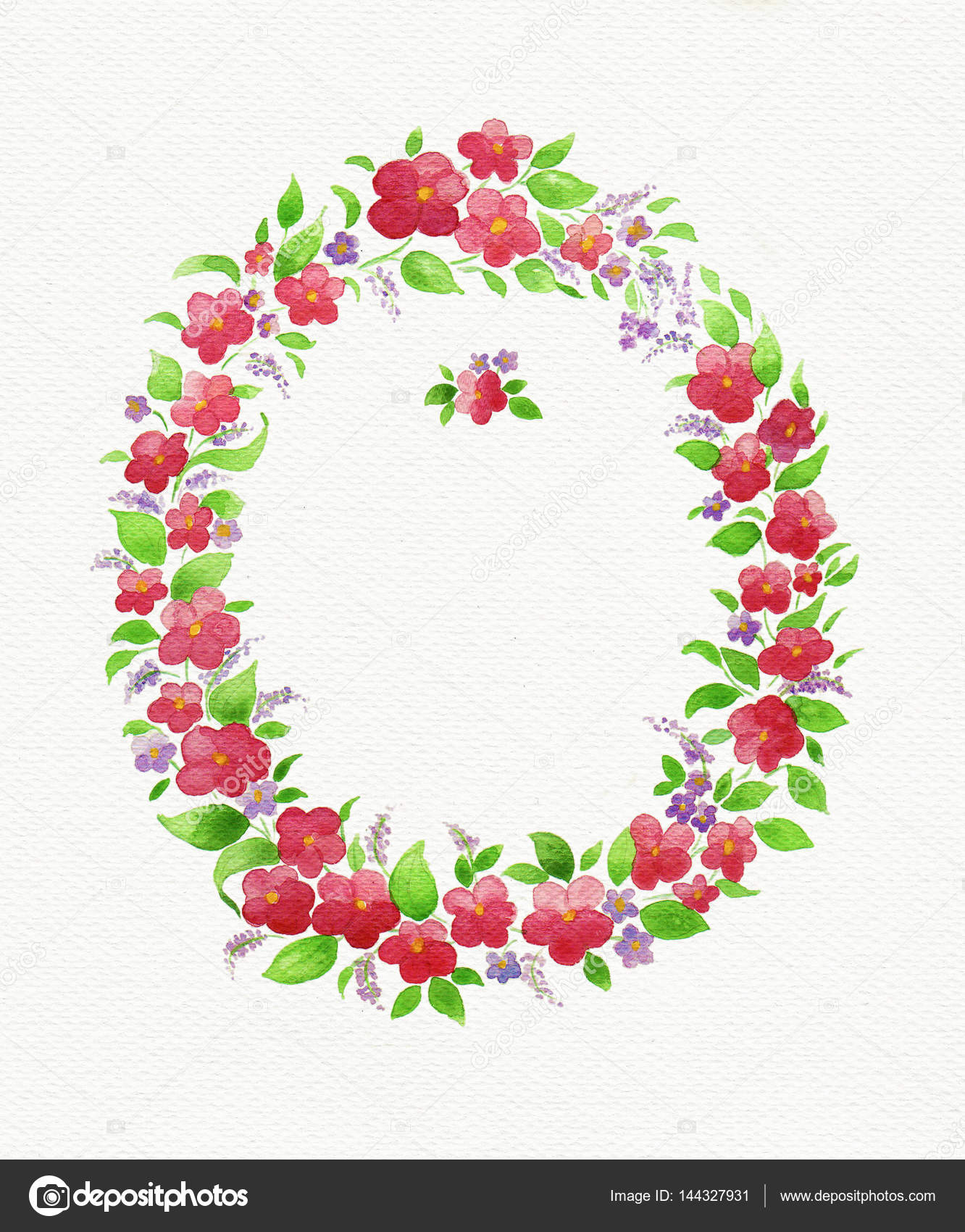 watercolor flower wreath template for greeting card stock photo