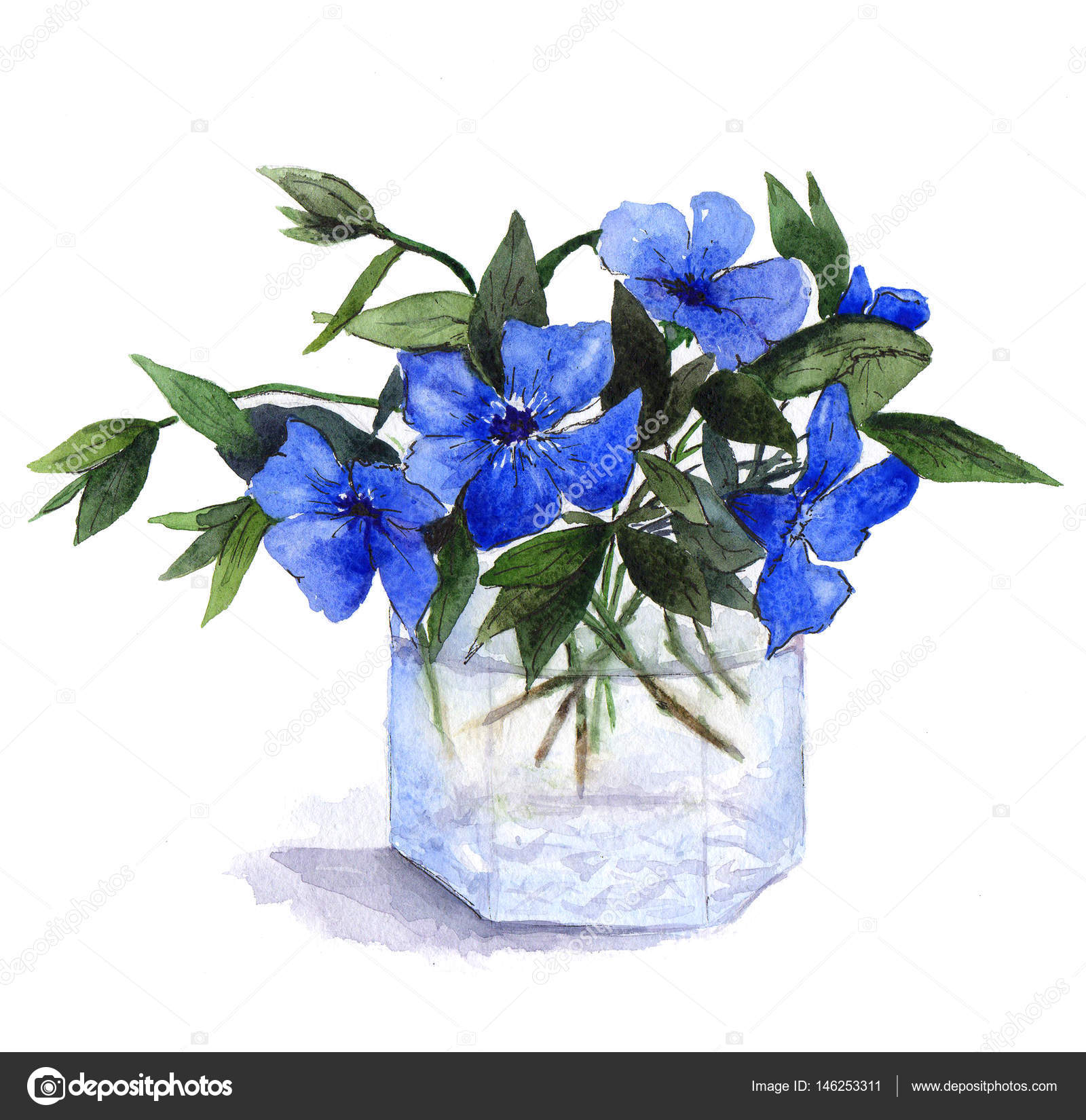 Bouquet of blue periwinkle flowers in glass vase watercolor bouquet of blue periwinkle flowers in glass vase watercolor illustration on white background photo by natalypaint reviewsmspy