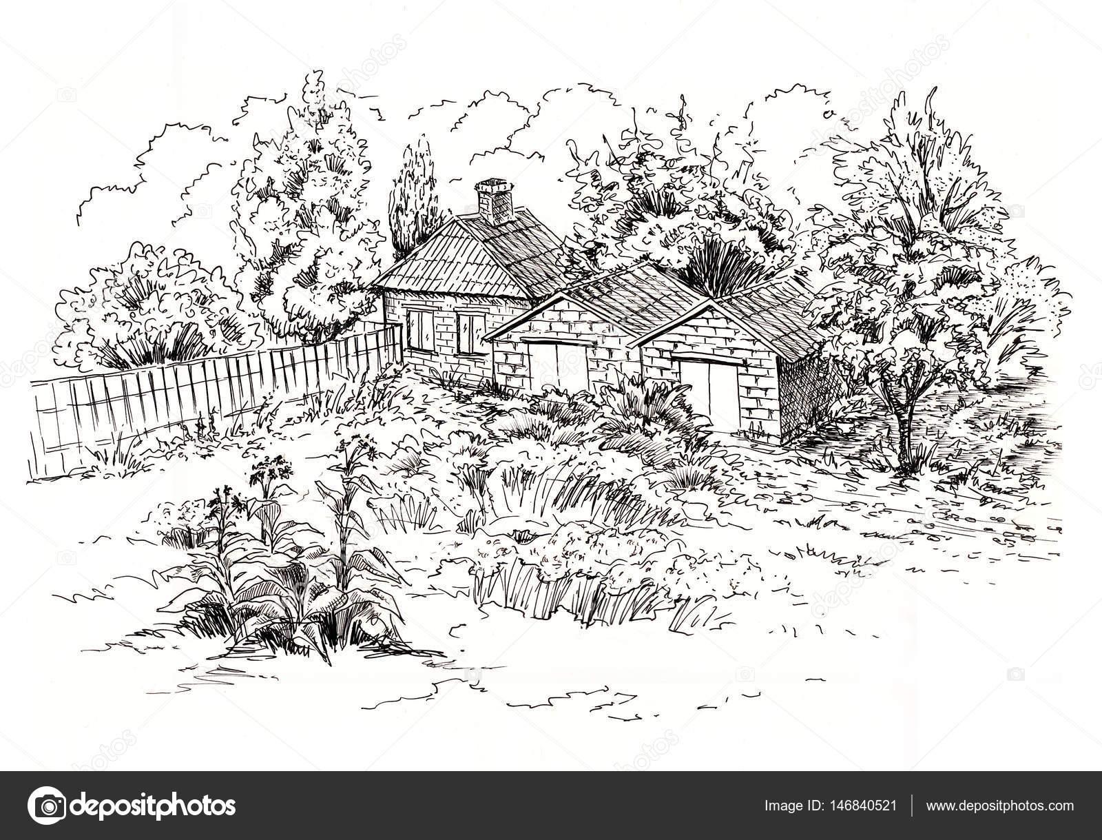 Desenho de paisagem rural com a antiga casa de campo for Disegni di addizione garage