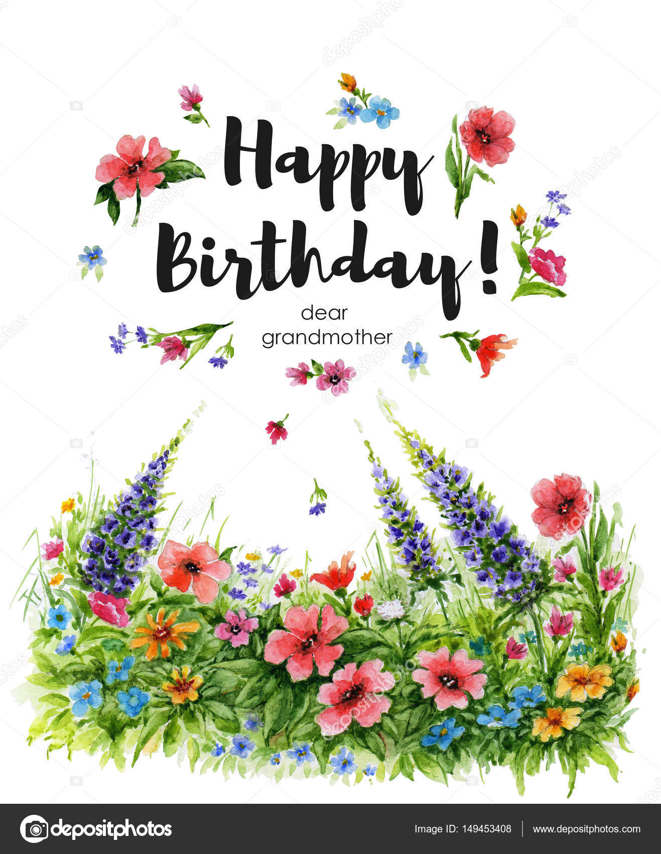 Greeting card happy birthday i love you watercolor illustration watercolor greeting card happy birthday dear grandmother with flower lawn and lettering in flower frame kristyandbryce Choice Image