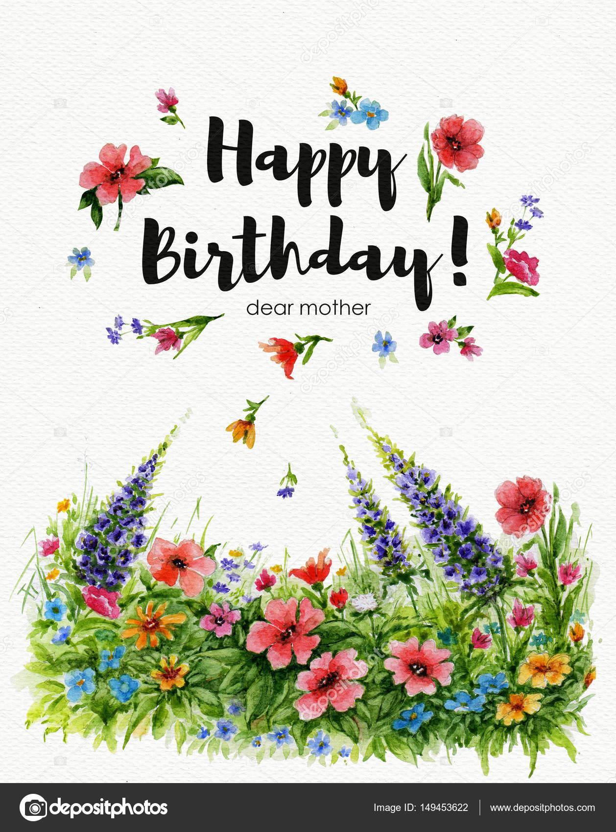 grattis på födelsedagen mormor Akvarell gratulationskort Grattis på födelsedagen kära mormor med  grattis på födelsedagen mormor