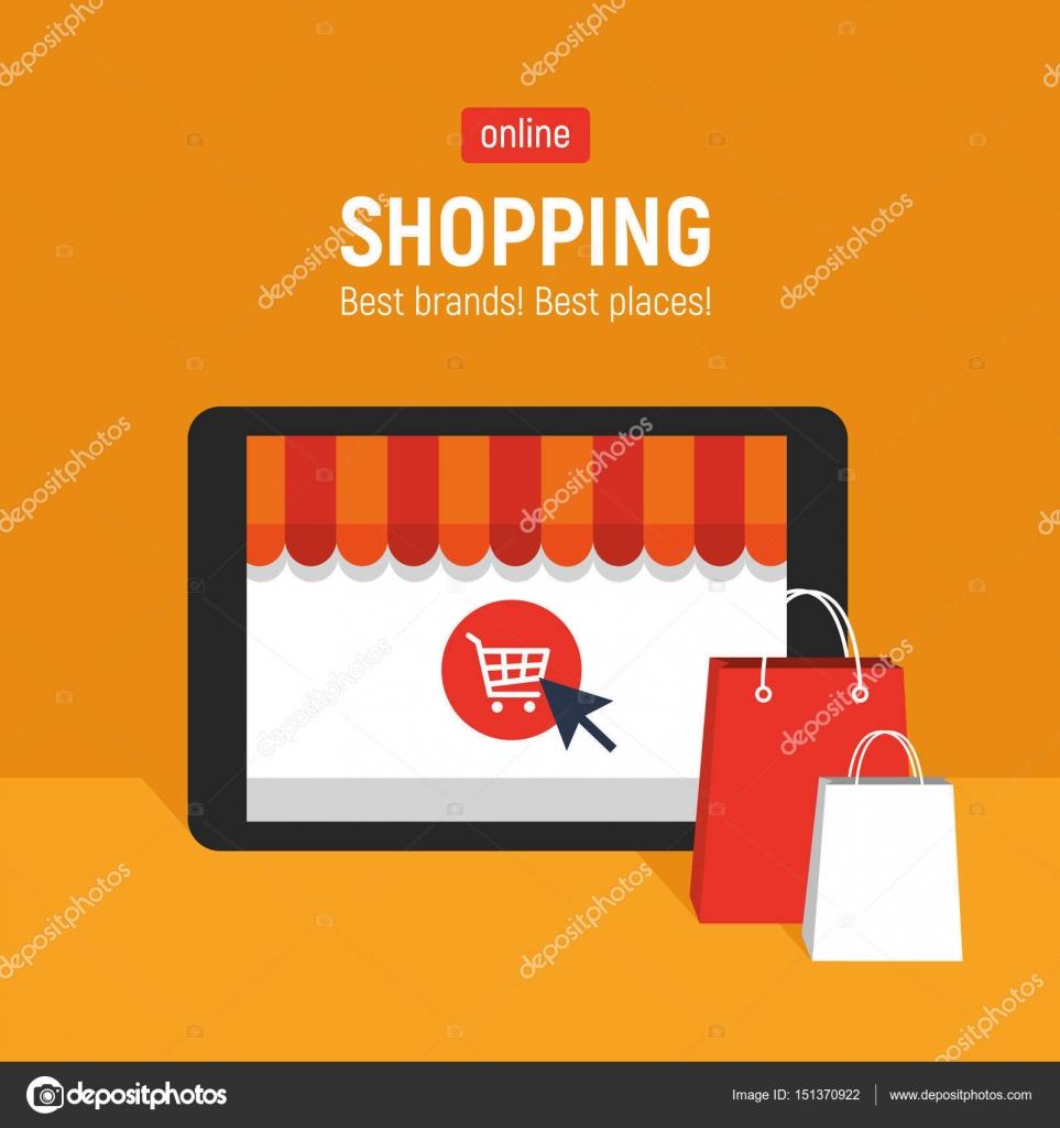 67c25192 Banner z tabletu. Strona sklepu internetowego otworzy się na ekranie  tabletu. Koncepcja zakupy online– ilustracja stockowa