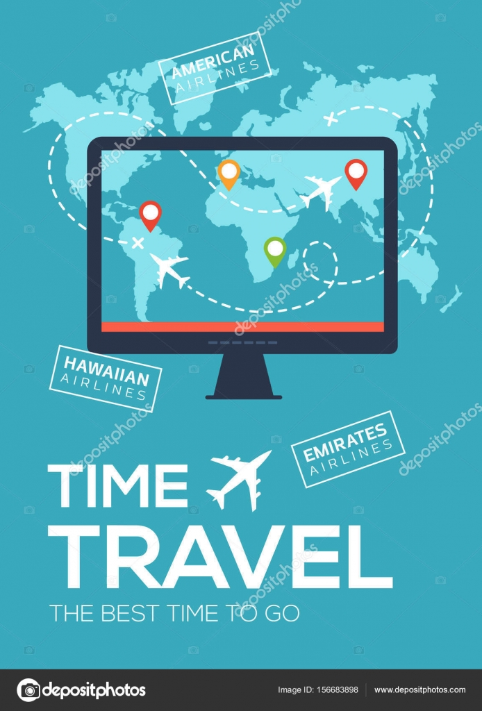 Banner poster of travel company the best time to travel monitor modern travel flyer poster banner banner of travel company the best time to travel screen of monitor on background of map of world with map markers and gumiabroncs Images