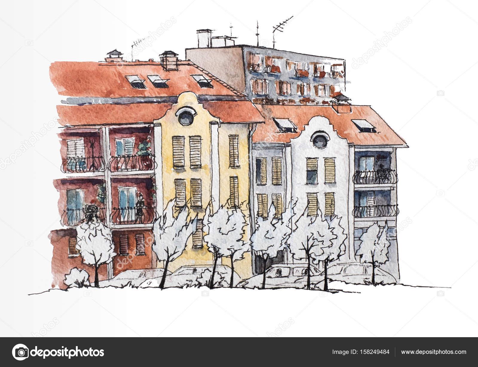 Europäische Stadtlandschaft. Europäische Stadt mit alten und ...