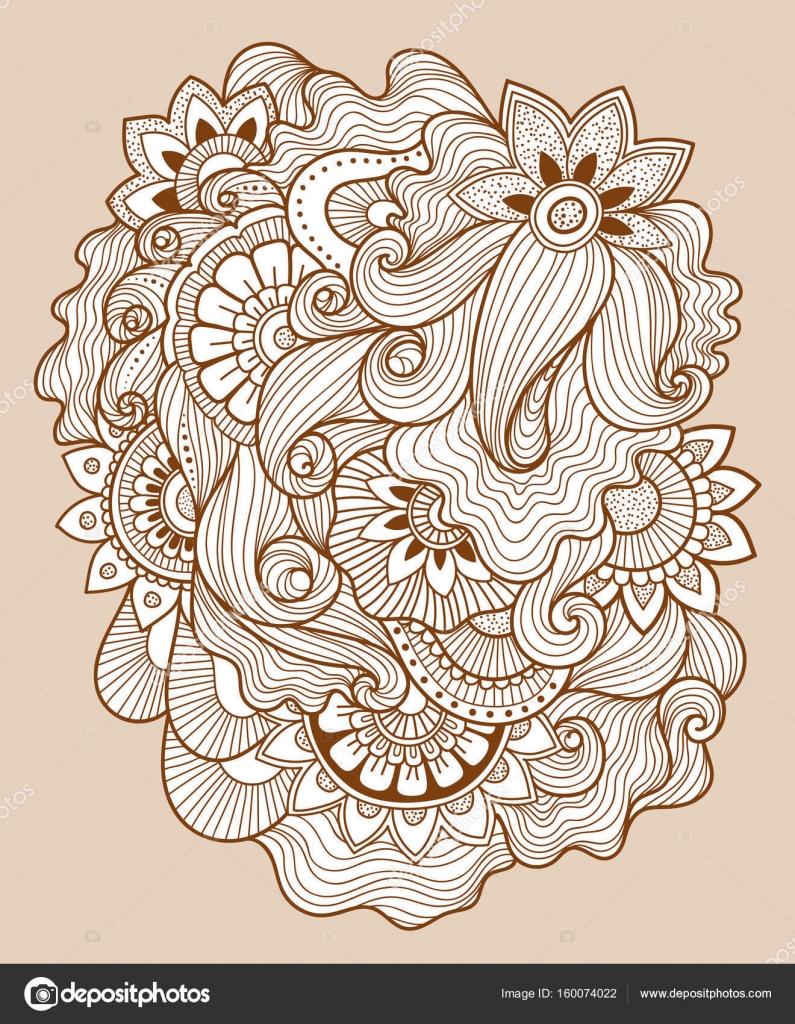 sch ne doodle kunst florale komposition henna tattoo blume vorlage doodle florale zeichnung. Black Bedroom Furniture Sets. Home Design Ideas