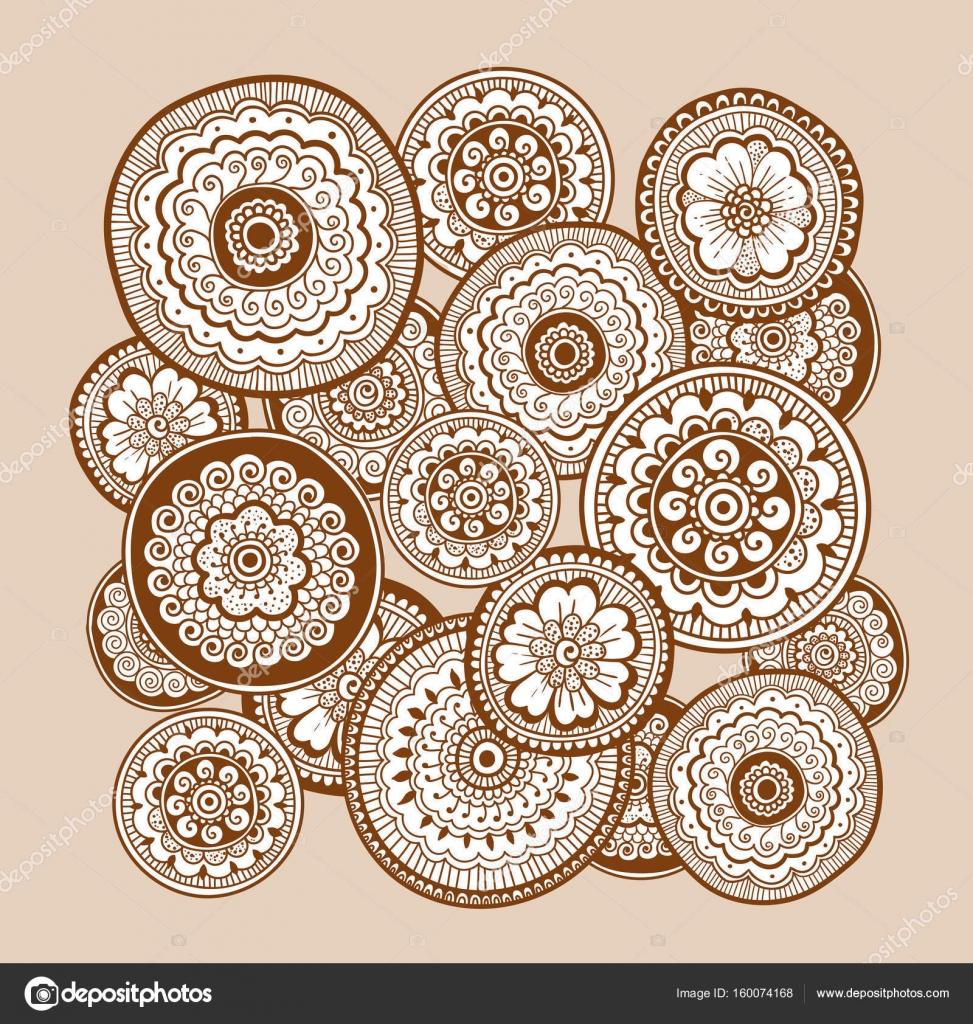 Ethnic Henna Mehndi Ornament Indian Style Beautiful Doodle Art