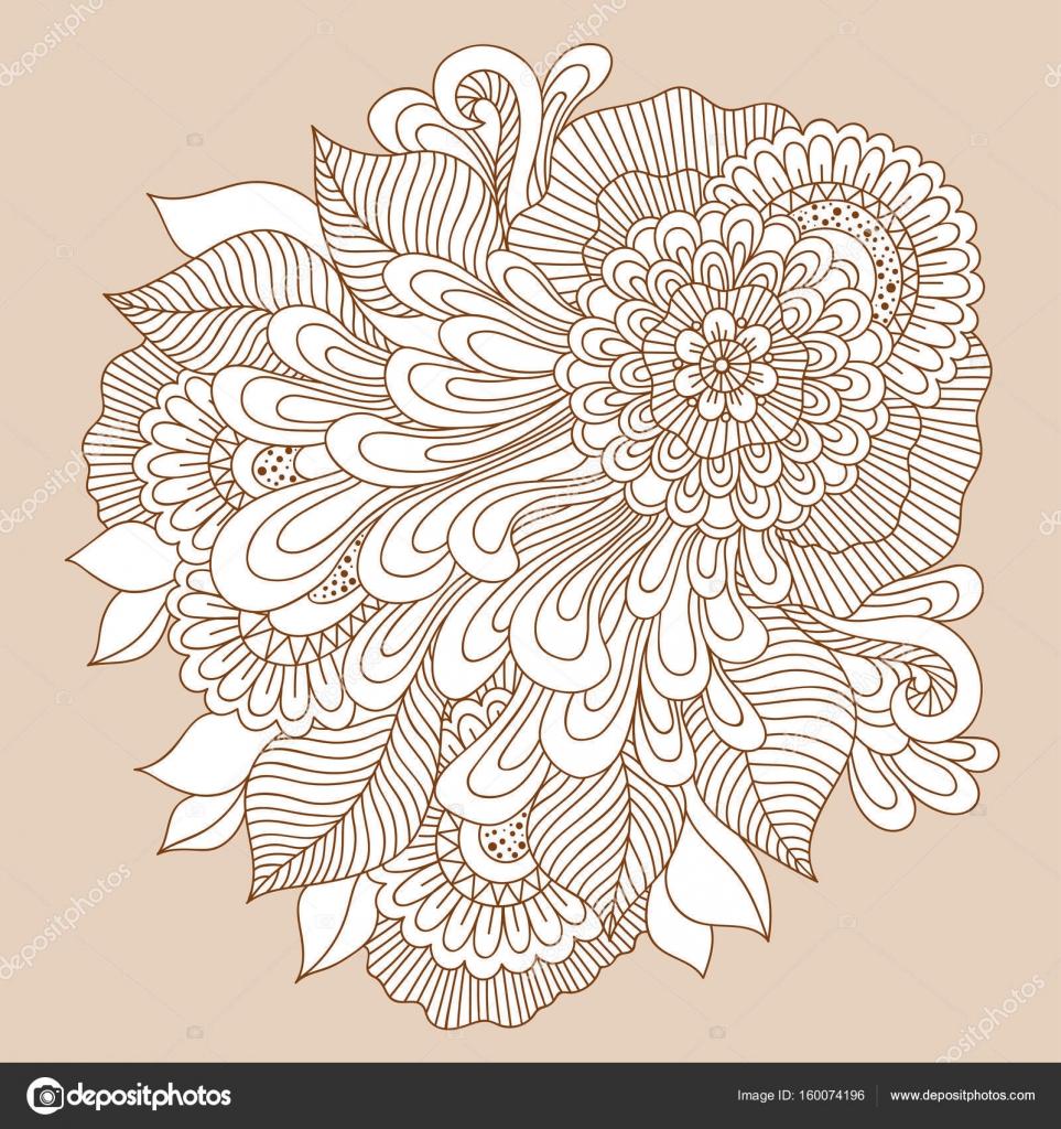 Composicin floral del arte hermoso doodle Plantilla de la flor del