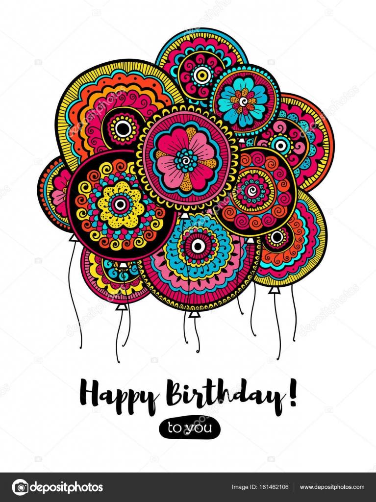 Carte d anniversaire joyeux avec des ballons motif indien - Mandala anniversaire ...