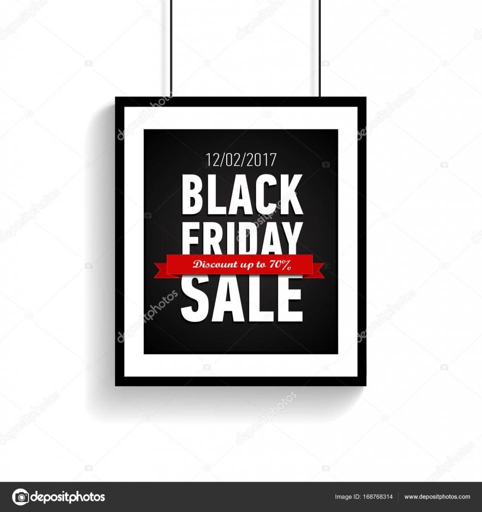 Cartel de venta viernes negro en marco negro sobre fondo blanco ...