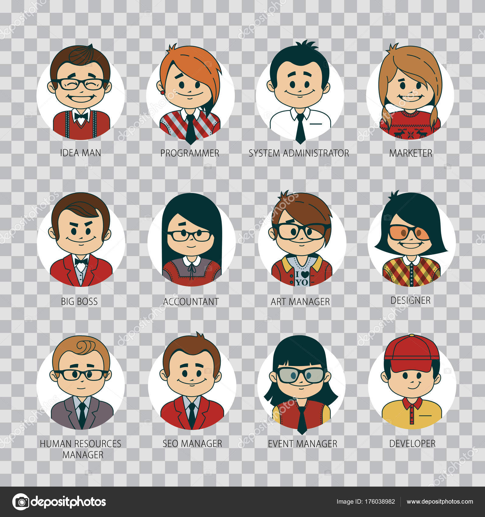 set of round people icons your office team collection of