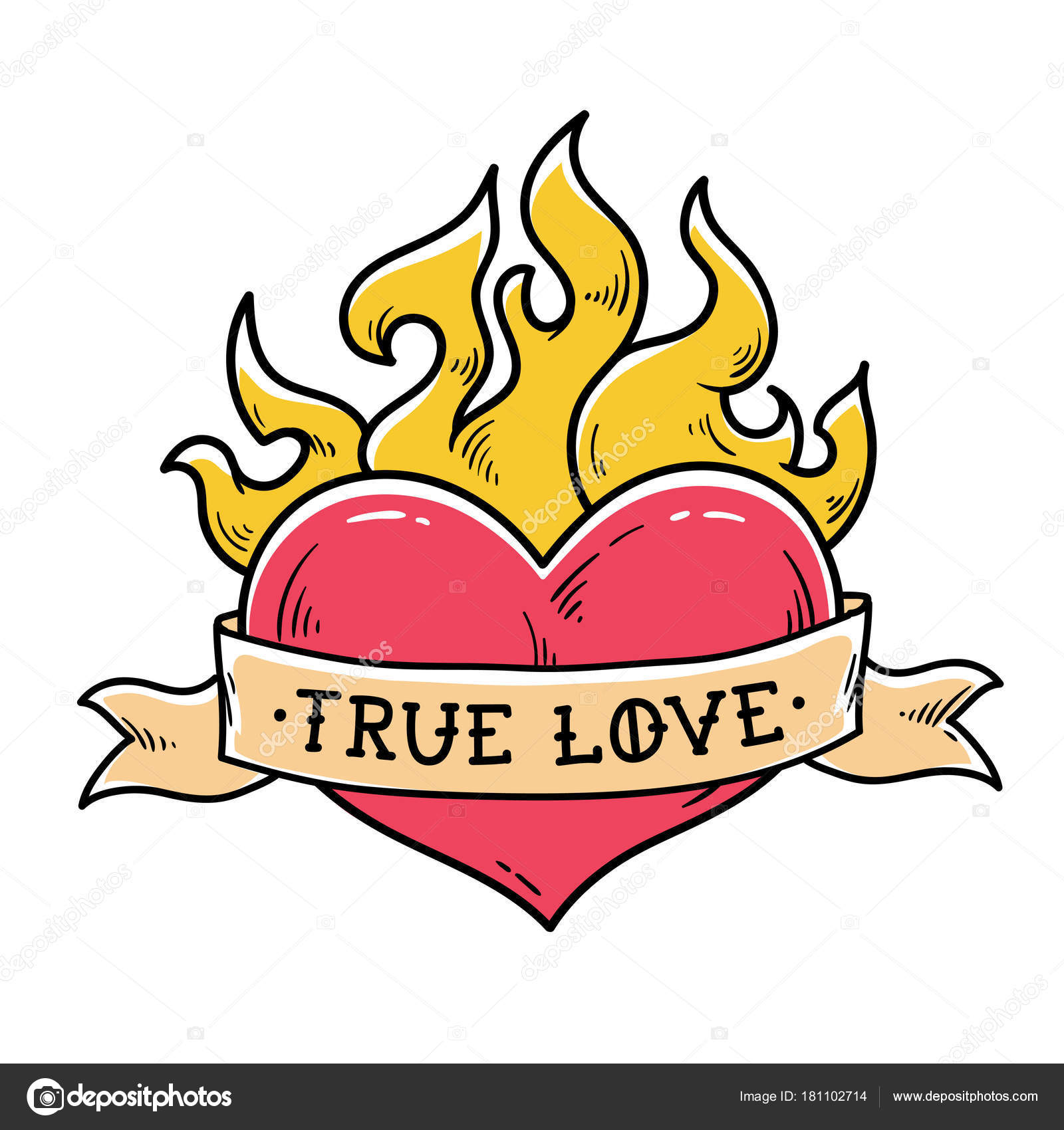Flaming Heart Tattoo With Ribbon True Love Heart Burning In Fire