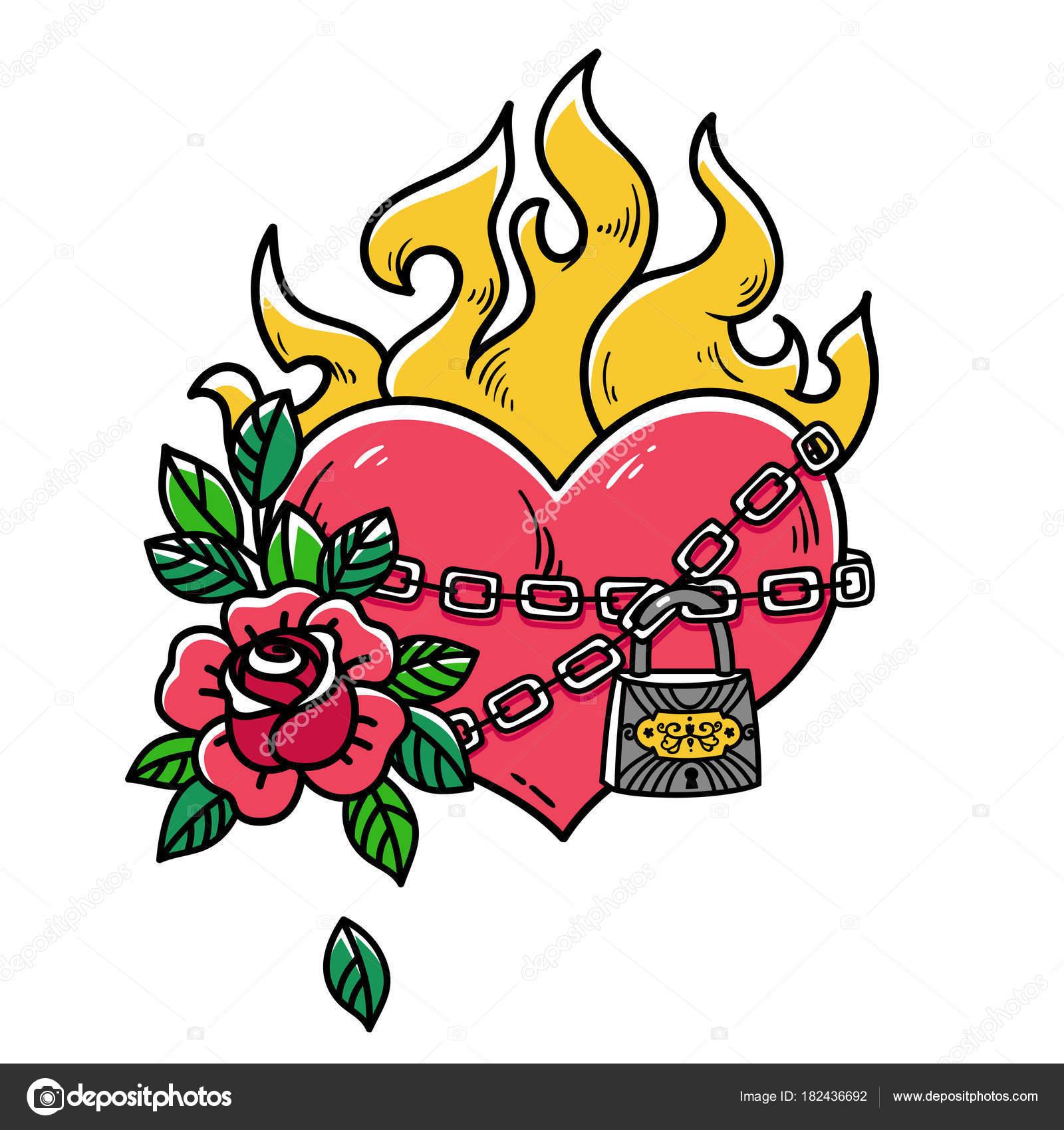 Tatuaje corazón llameante atado con cadenas de amor. Corazón con ...
