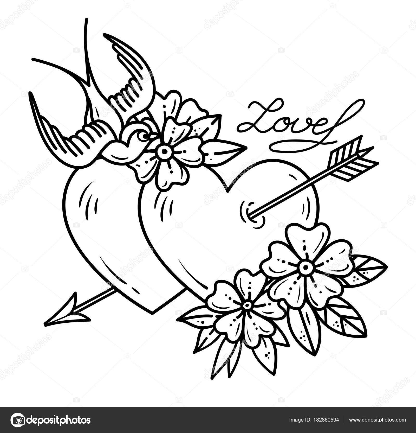 Tattoo zwei Herzen durchbohrt vom Pfeil mit Blumen und Vogel ...