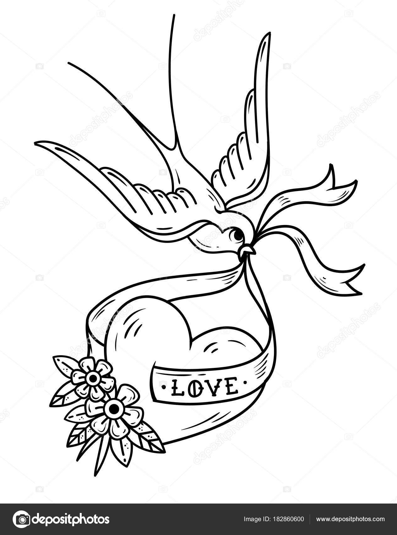coeur sur ruban avec lettrage love hirondelle se prolonge. Black Bedroom Furniture Sets. Home Design Ideas