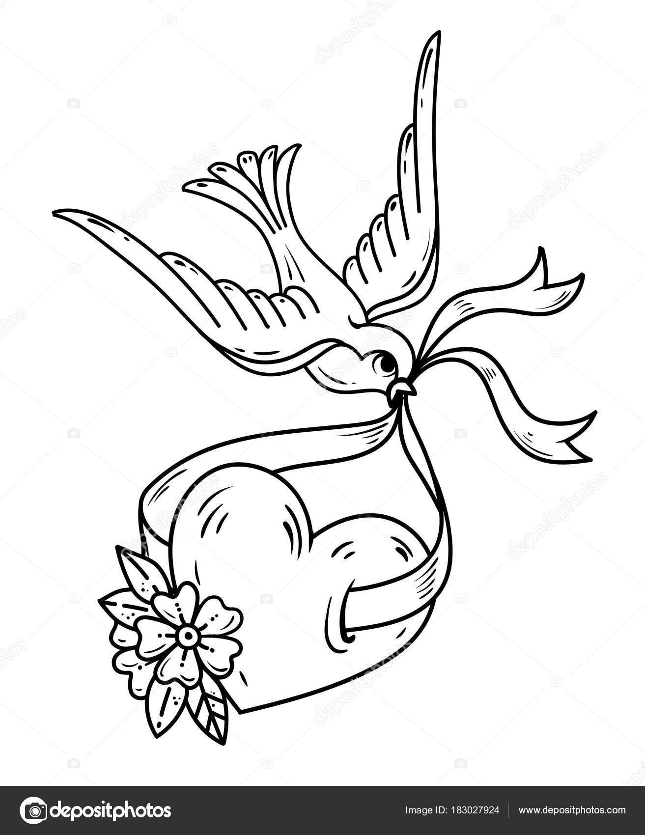 Hirondelle Se Prolonge Coeur Sur Ruban Tatouage Coeur Avec Des