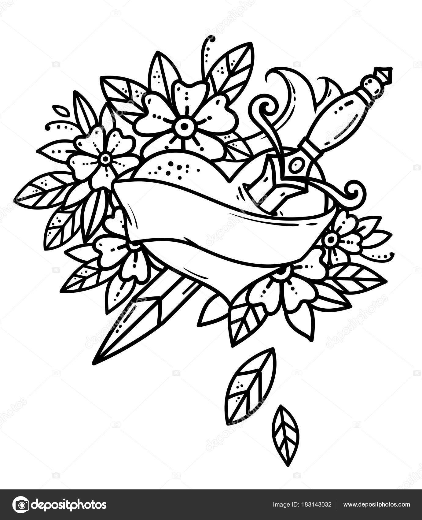 Imágenes Tatuajes De Flores Blanco Y Negro Corazón Traspasado Con