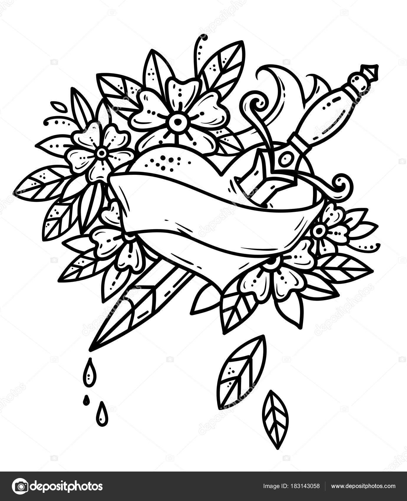 Tatuagem Coração Perfurado Com Punhal Gotas De Sangue Do