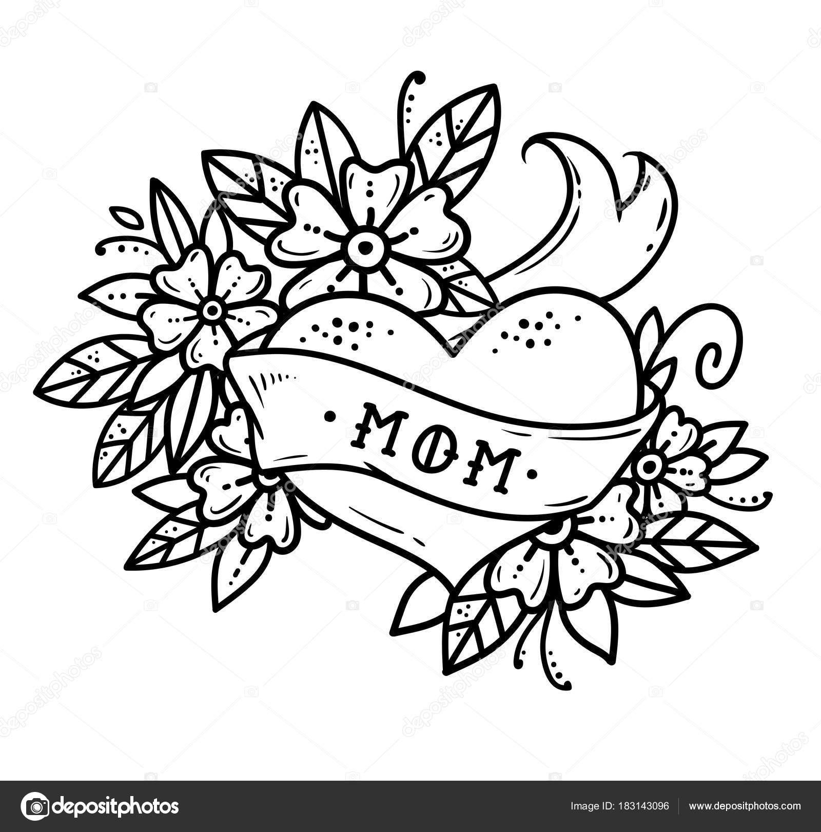 Tatouage Coeur Avec Ruban De Fleurs Et De Lettrage Maman Sans