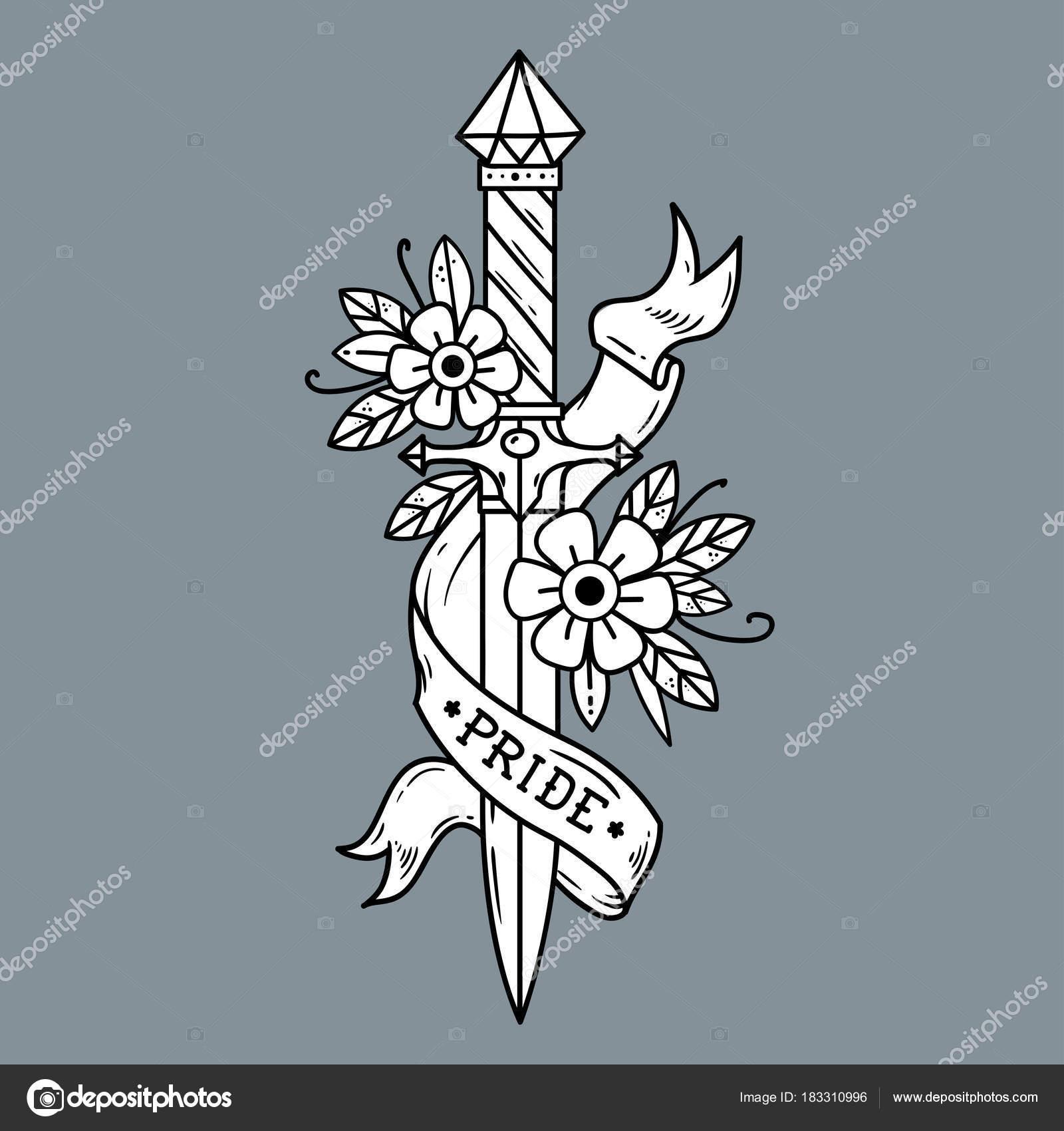 Adaga De Tatuagem Vector Com Flores E Fita Orgulho