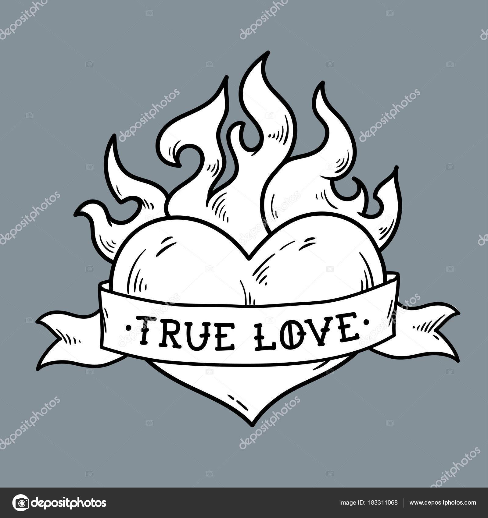 Flaming Heart Tattoo With Ribbon True Love Stock Vector