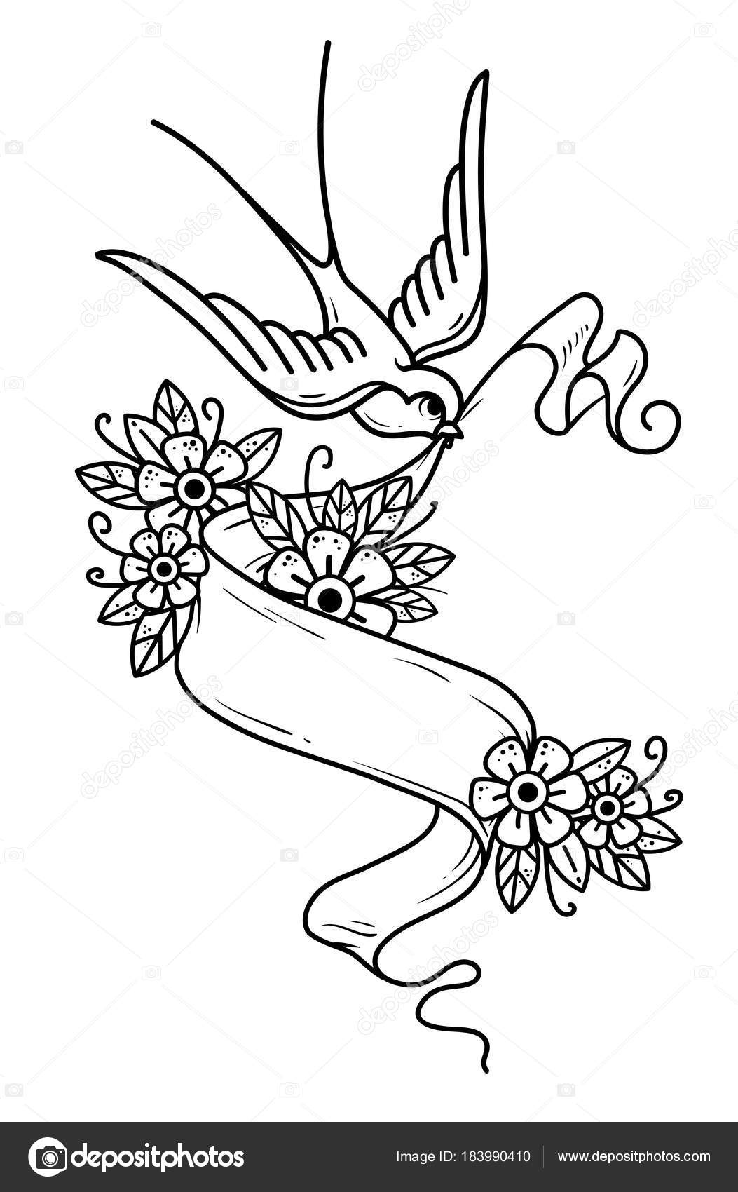 Hirondelle Vole Et Porte Ruban Avec Des Fleurs Image Vectorielle