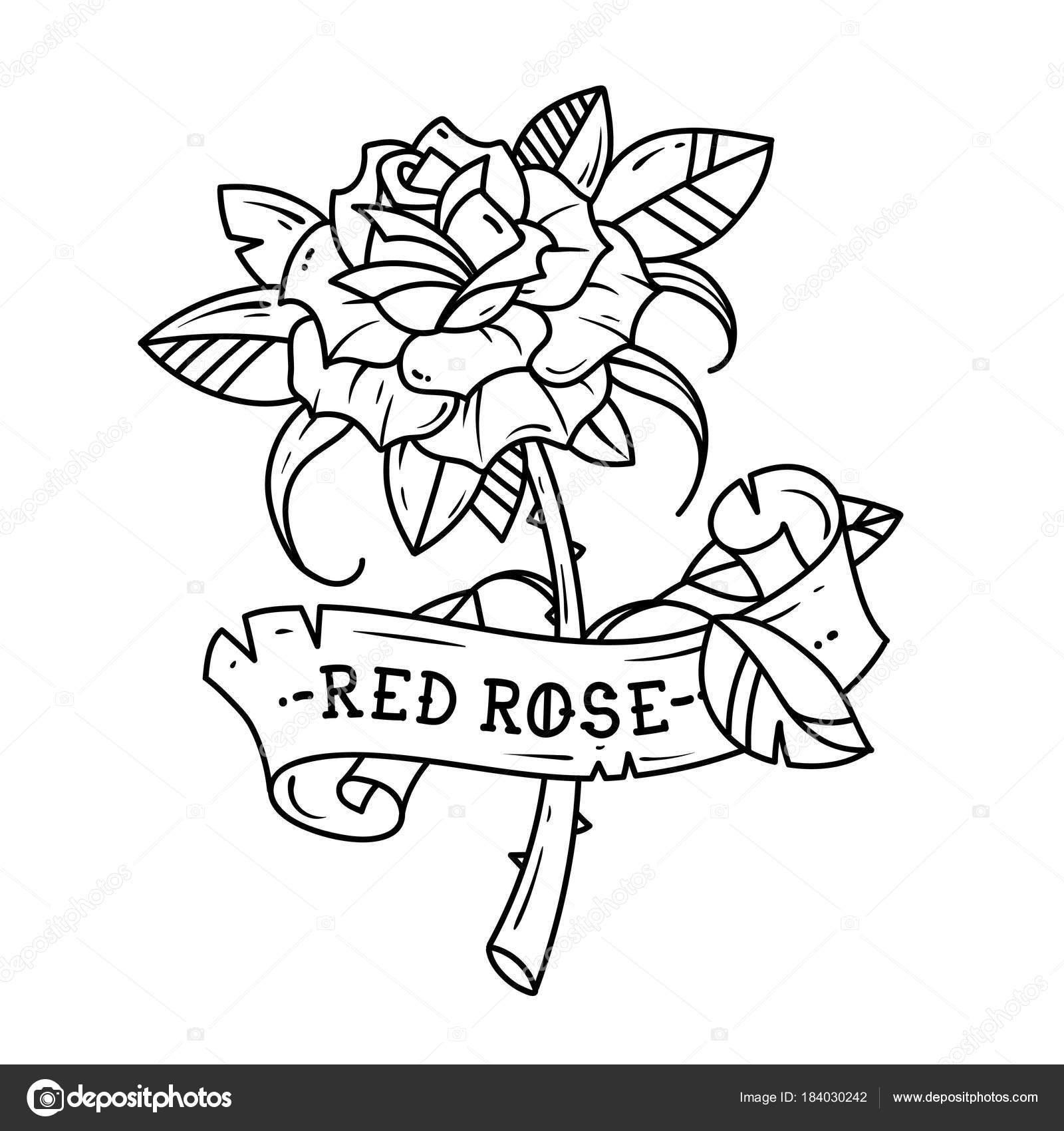 Tattoo Rose With Ribbon Passion Love Stock Vector Natalypaint