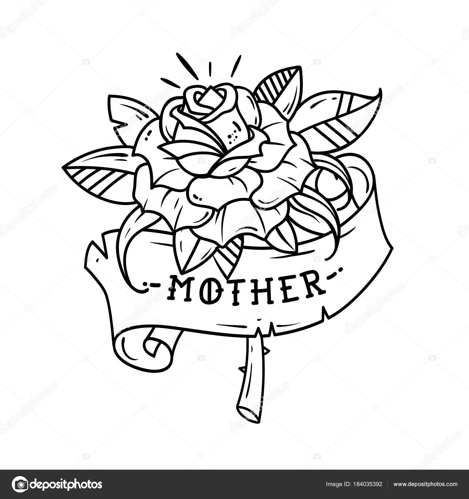 Tattoo Red Rose With Ribbon And Lettering Mother Black And White