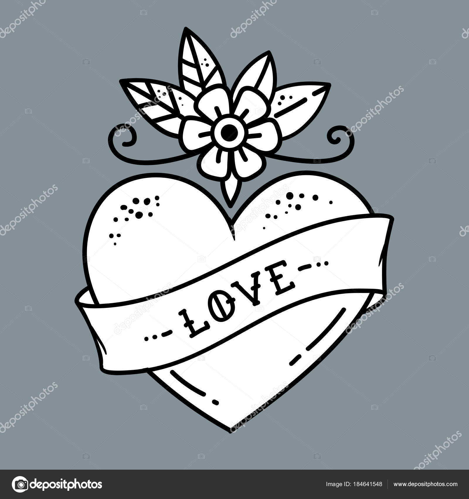 Tatouage Coeur Avec Fleurs Et Ruban Symbole De L Amour Image