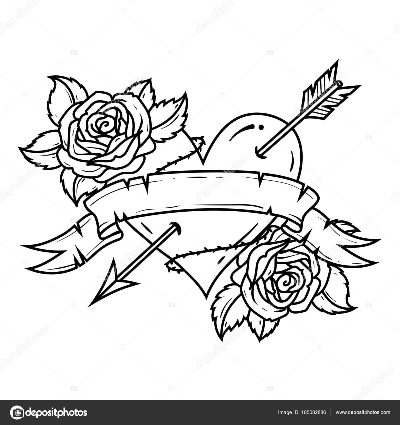 Tatuaje rojo corazón atravesado por flecha con cinta y rosas ...