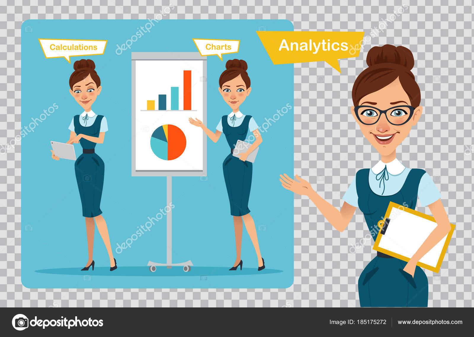 e18bd9a49f9cc7 Zeichensatz Business Frauen. Drei Stellungen. Prozess-Analyse. Mädchen  sprechen und zeigen. Mädchen zeigt Gewinn Wachstum Diagramm