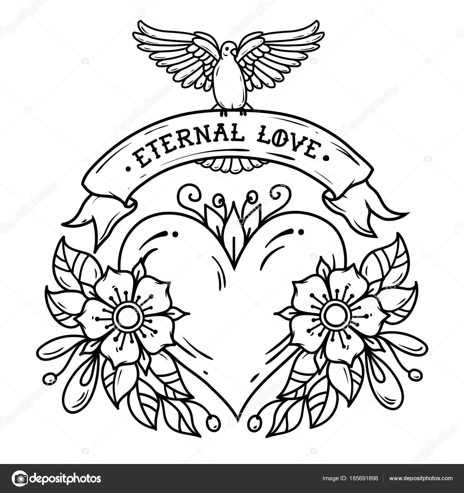 Coeur De Fleurs Ruban Et Colombe Blanche Amour Eternel Tatouage