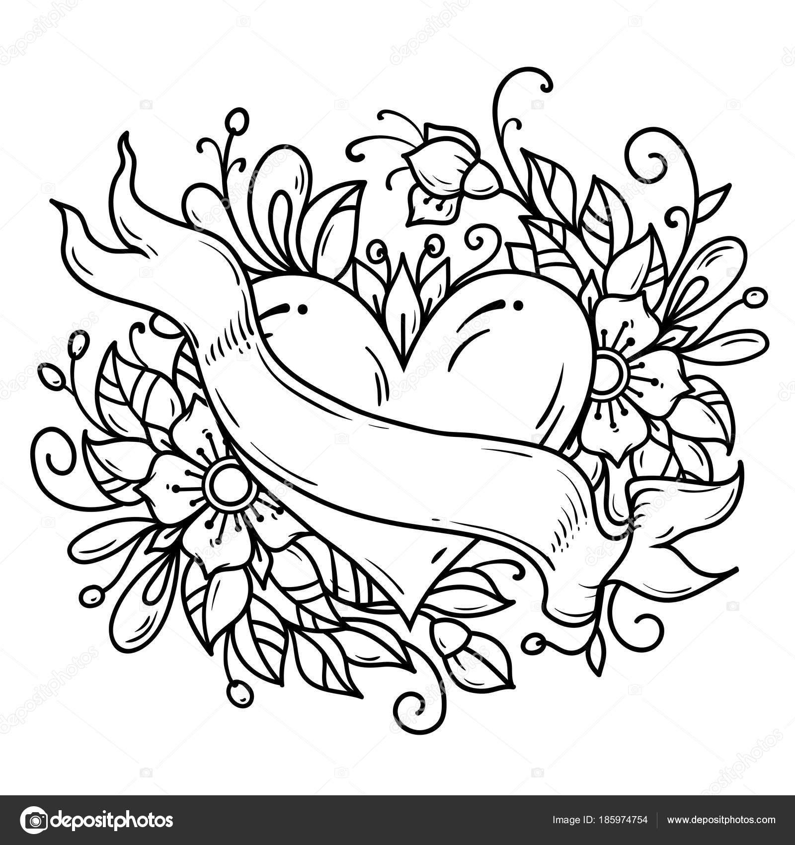Hojas Decoradas Blanco Y Negro Tatuaje Corazón Había