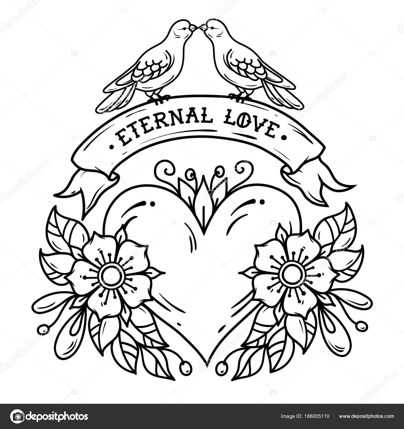 Tatouage Coeur Avec Roses De Feuilles De Ruban Et De Colombes
