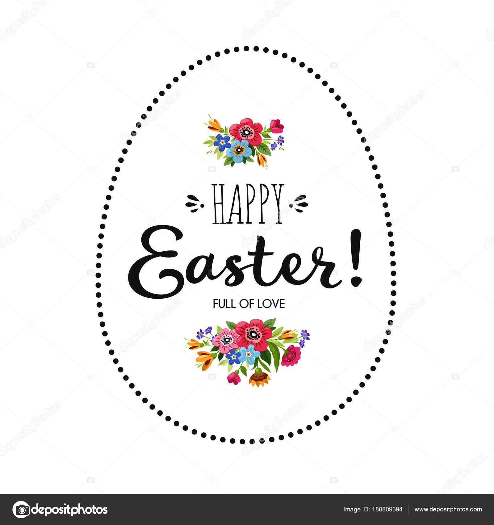 Glücklich Osterkarte. Frohe Ostern Schriftzug verziert Blumen ...