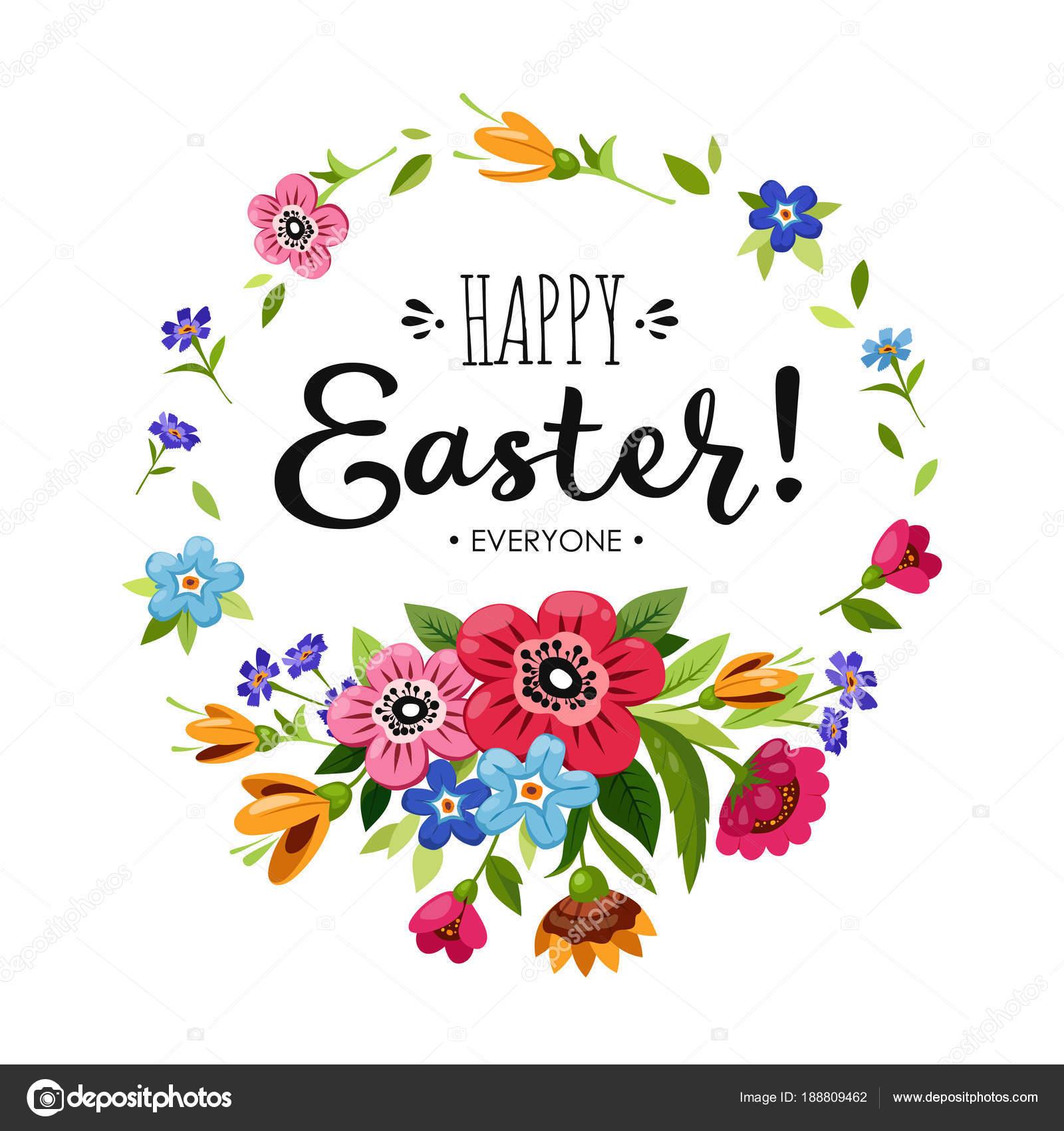 Vorlage Frohe Ostern Karte. Schriftzug Happy Ostern alle in Runde ...