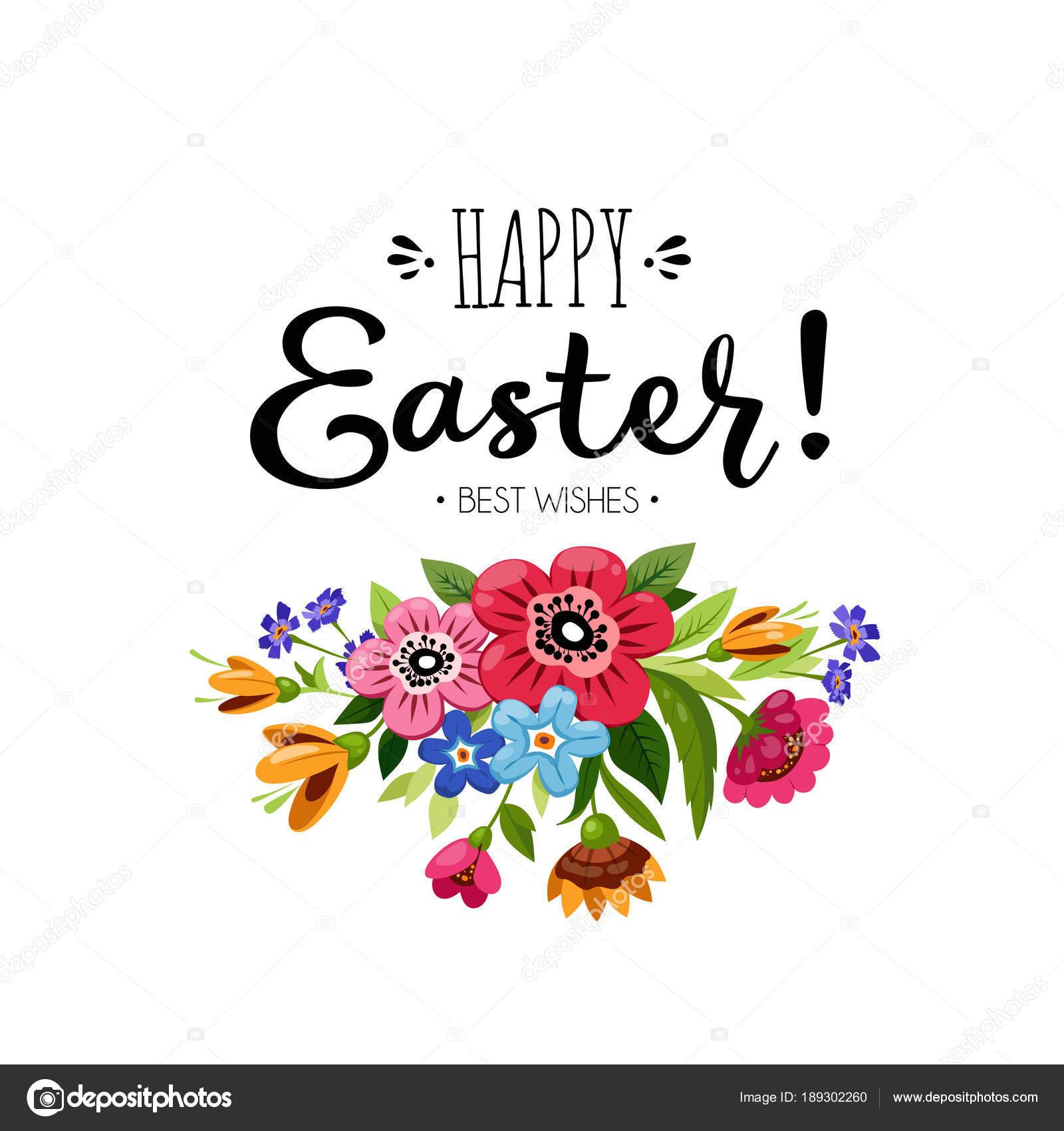 Vorlage Frohe Ostern Karte mit Blumenstrauß und Inschrift ...