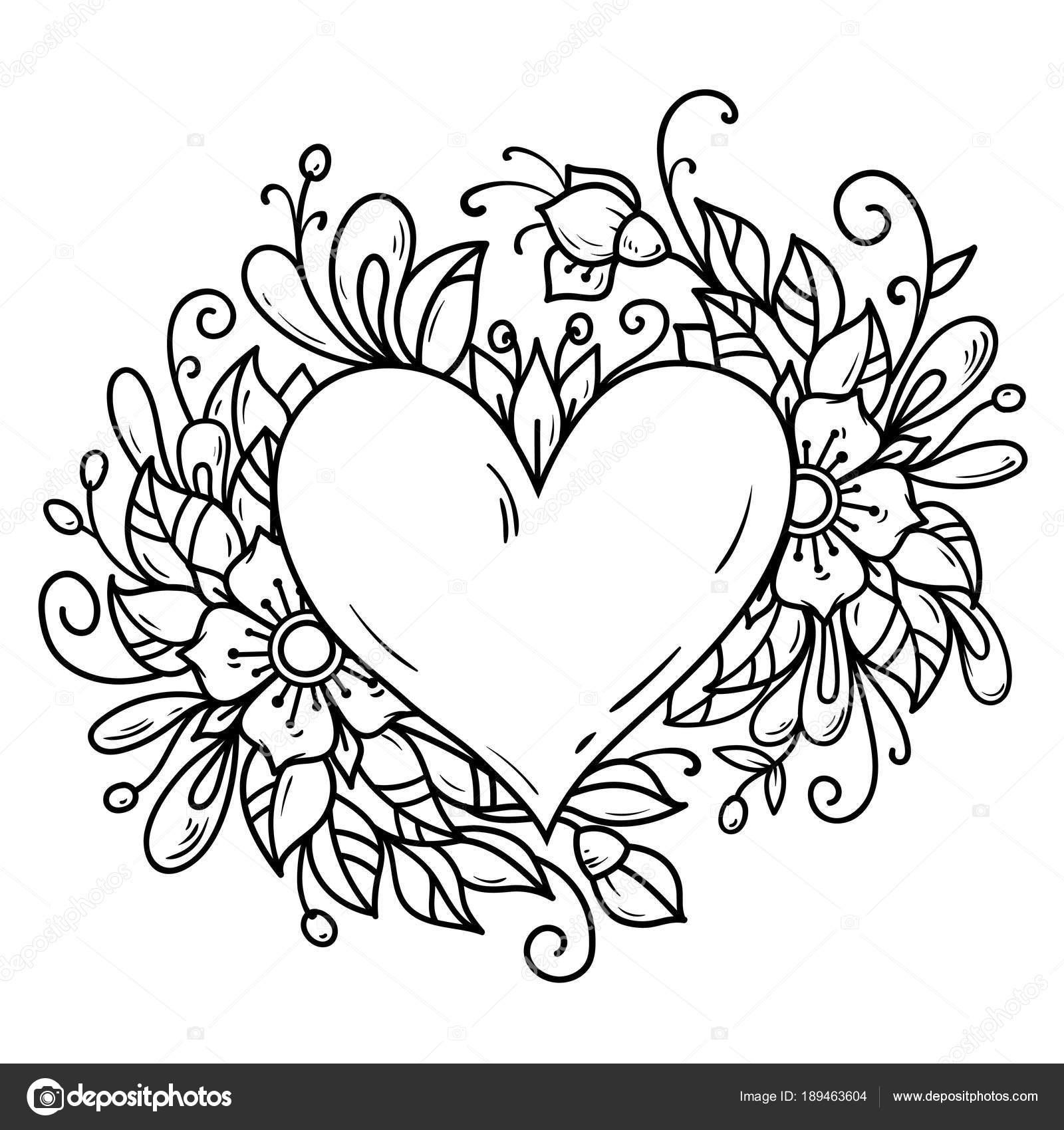 Corazón romántico había decorado flores, brotes, hojas. Corazón ...