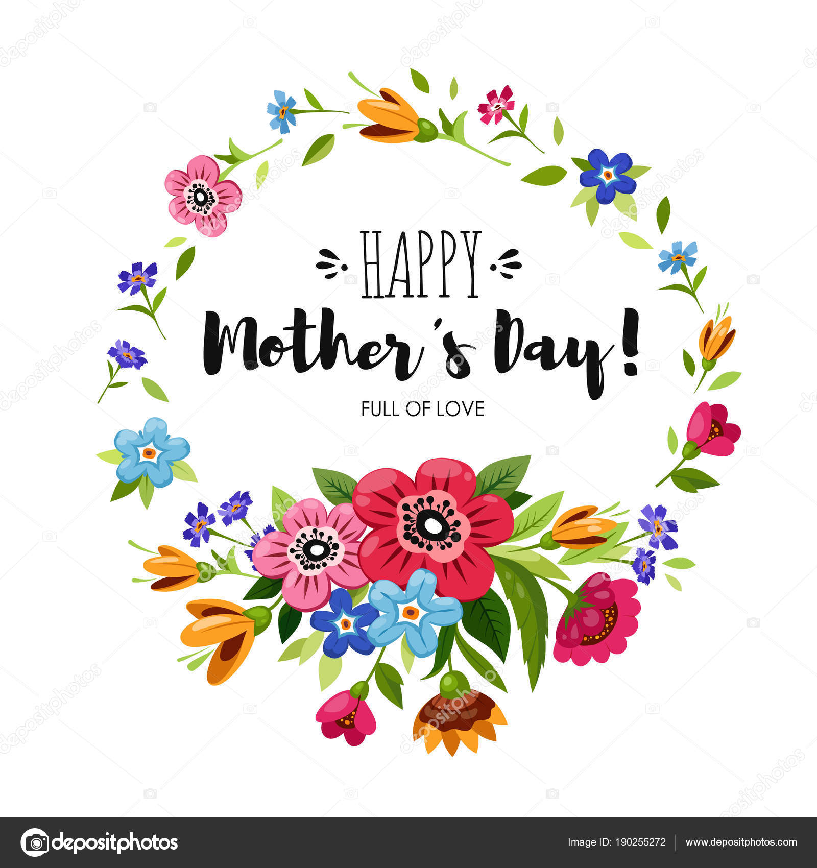 Happy Mothers Day card with round flowers frame — Stock Vector ...