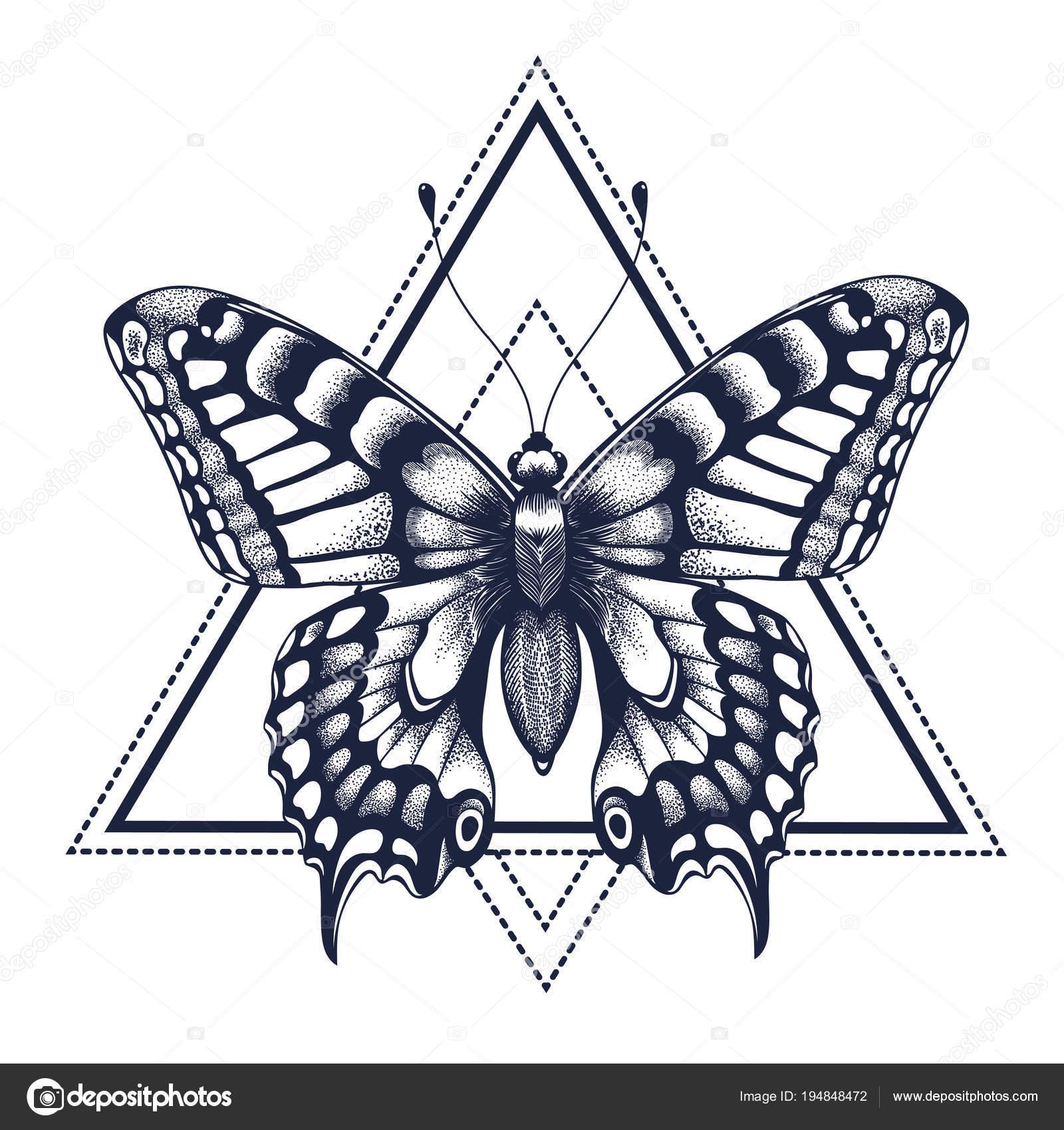 Tatuagem De Borboleta. Dotwork Tatuagem. Artes Gráficas