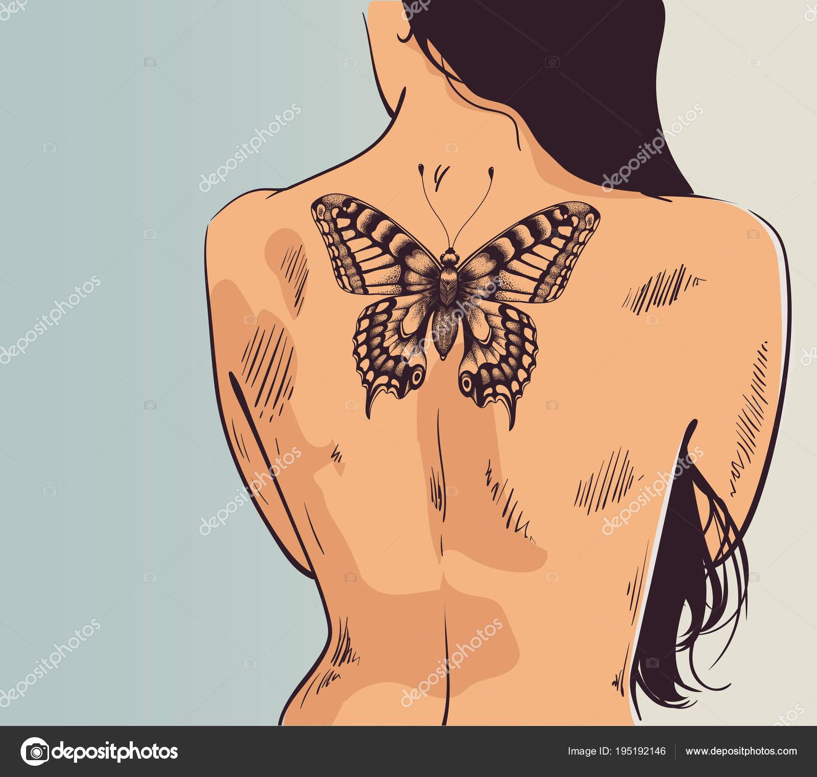 Mädchen Mit Tattoo Frau Mit Dem Rücken Gedreht Schmetterling