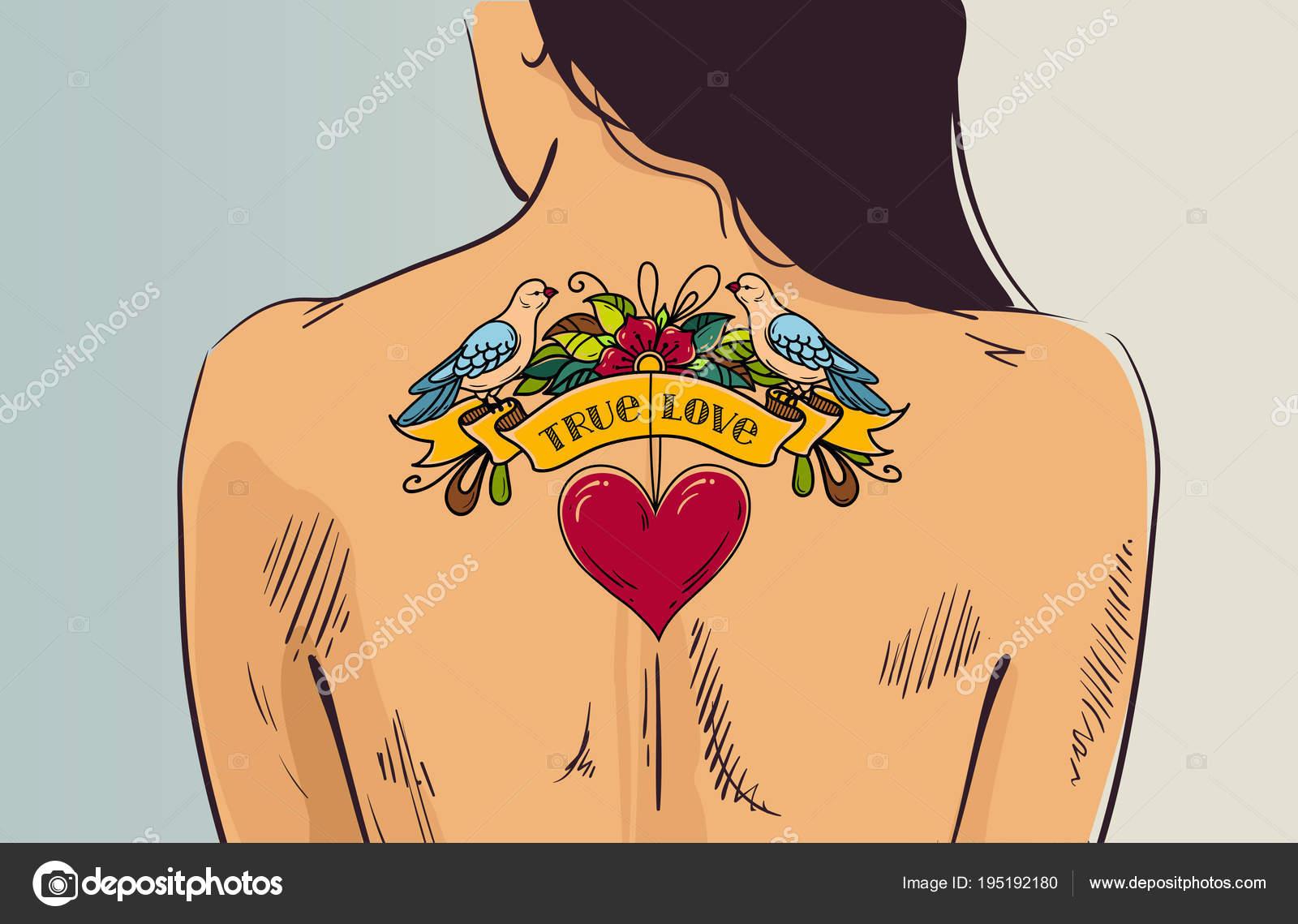 Chica Con Tatuaje Romántico Mujer De Vuelta Con La Espalda Tatuaje