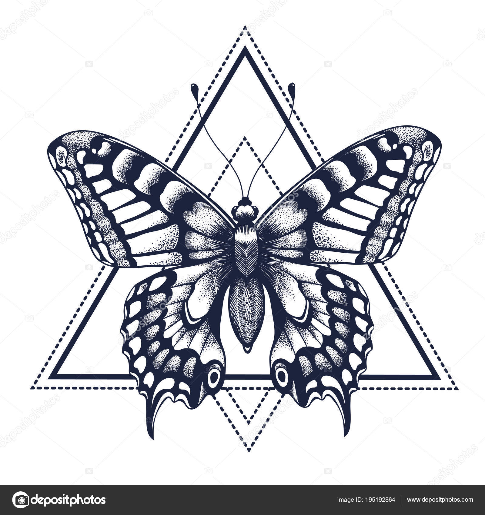 Motyl W Trójkąt Tatuaż Dotwork Tatuaż Grafika Wektorowa